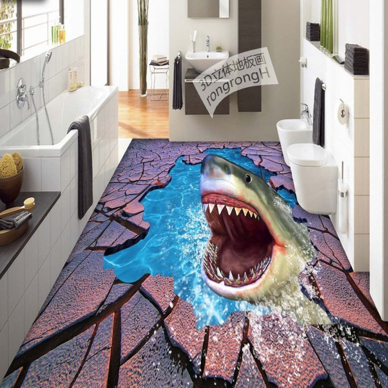 ФОТО Free Shipping Sea World Shark Crack flooring wallpaper shopping mall office bathroom self-adhesive floor mural
