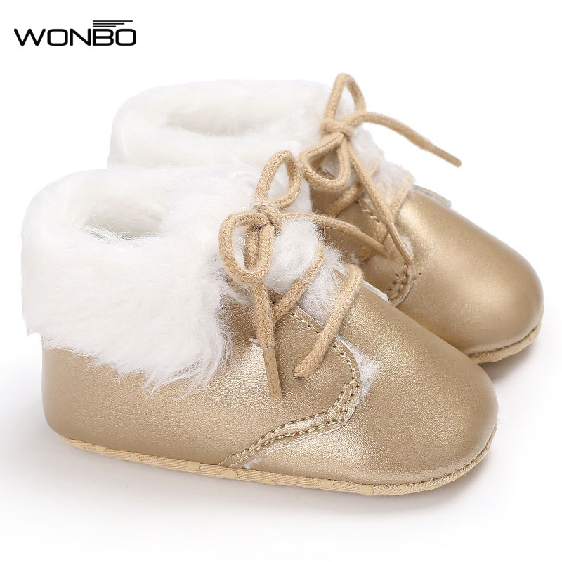 Baby Leisure First Walker Shoes Plus Cashmere Warm Boots PU Leather Non - Slip Soles Baby Shoes 0-18M Baby Boy Shoes