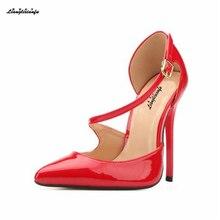 LLXF stilettos US15 16 17 18 European style Gold bottom 13cm thin heels Two-Piece Sandals sexy wedding pumps woman Buckle shoes