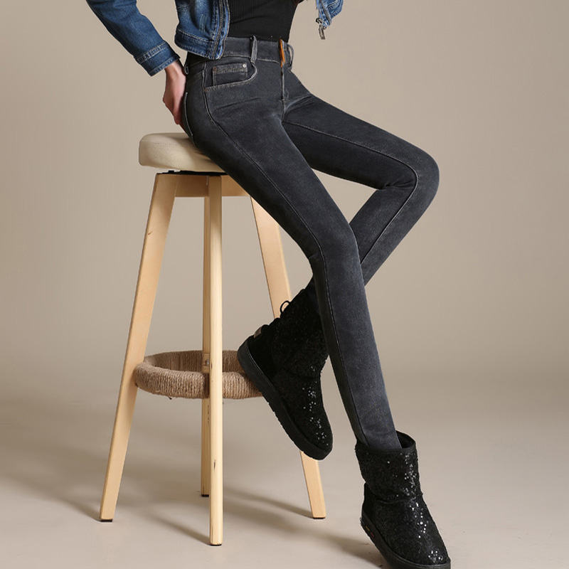 Vaqueros Cintura Lápiz black De Gray Cálido Alta Femme Invierno Pantalones Blue Jean Gray C1495 Denim 2019 Mujer blue Terciopelo black Rqzztd
