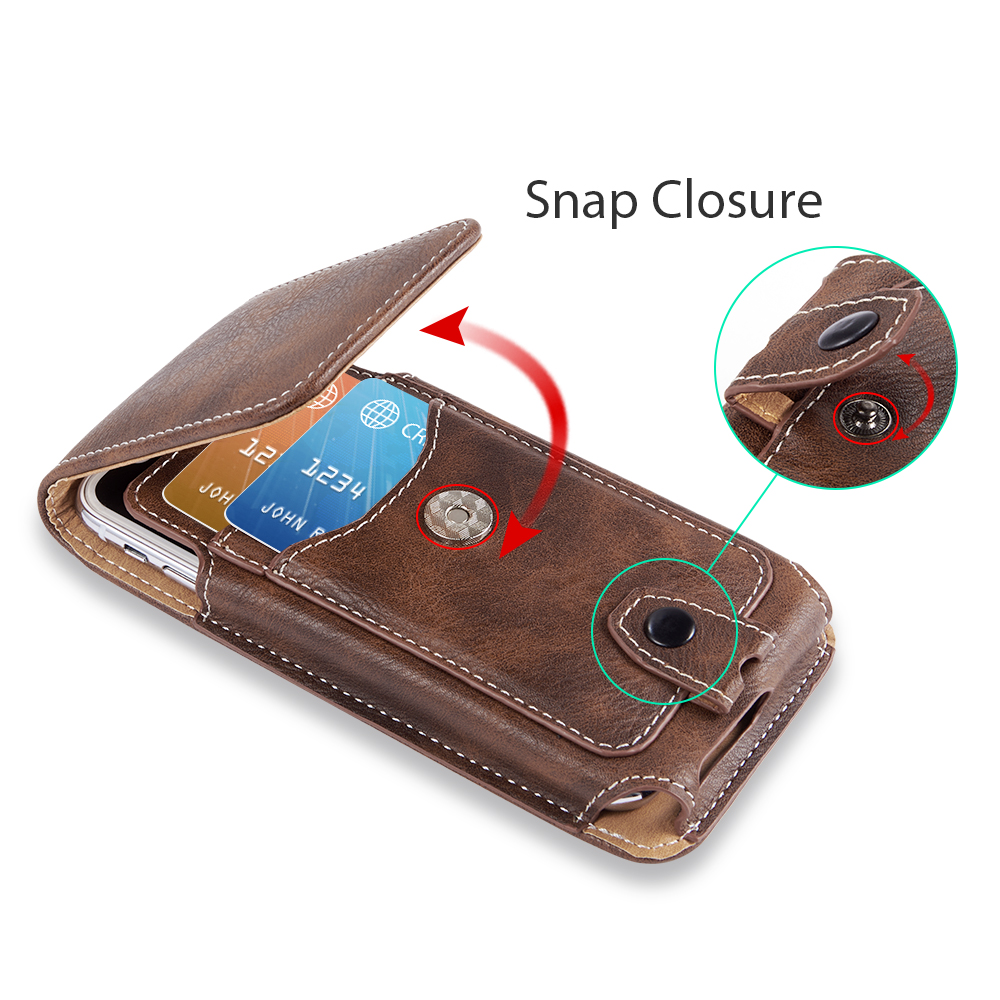 Universal Pouch Leather phone Case For iphone XS X 7 8 plus Waist Bag Magnetic holster Belt Clip phone cover for redmi 5 plus  (1)