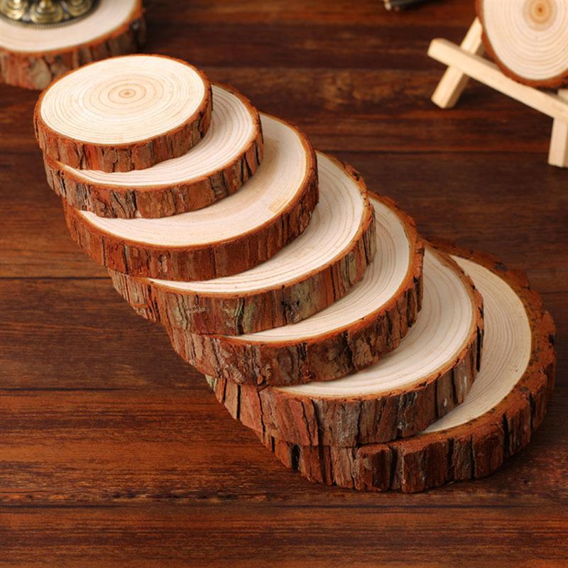 New 30pcs 9-10CM Unfinished Natural Round Wood Slices Circles With Tree Bark Log Discs For DIY Crafts Wedding Party Decoration