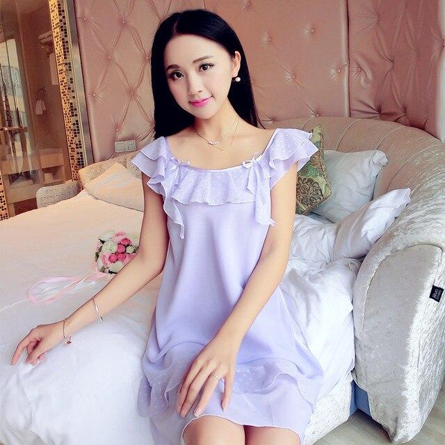 пижама Пижамы летние милой принцессы слинг тапочки сексуальные дамы Корейский шифон дом 2017 Весна Лето