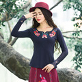 Women O Neck Long Sleeve Tops Casual Ethnic T-shirt Patchwork Lace Pure Color Spring Autumn Femininos Basic Large Size Tees