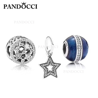 PANDOCCI 100% 925 Sterling Silver Stars Snowflake Charm Charm Beaded Set Suitable DIY Bracelet Gift Jewelry