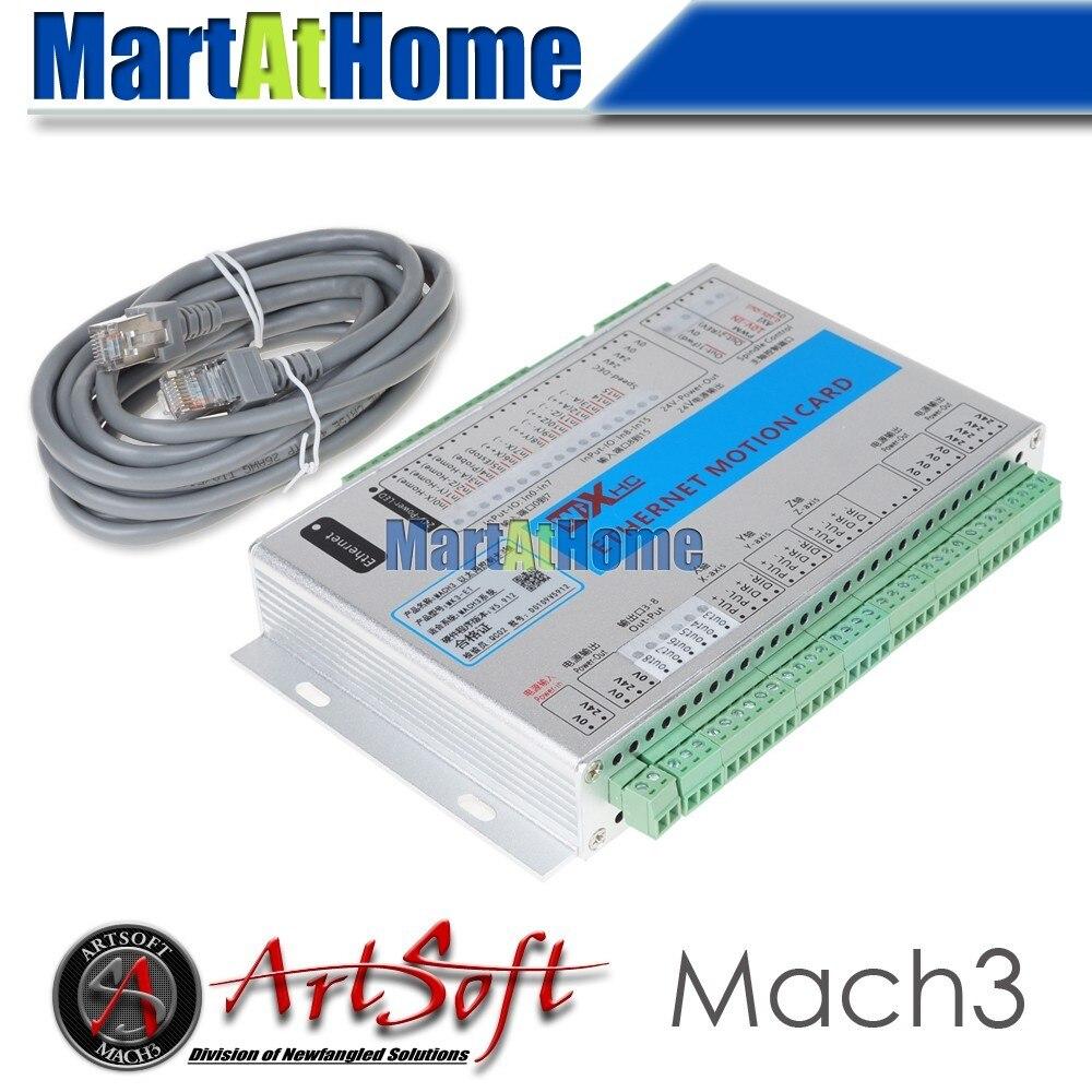Ethernet 2 МГц Mach3 CNC 3-осевая карта управления движением из точки останова для токарных станков фрезерные станки лазеры плазменный гравер # SM777