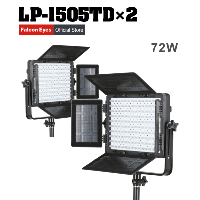 Falcon Eyes 2XLot 75W LED Panel Photography Video Light Panel Dimmable LED Studio light 150pcs LED Continuous lighting LP-1505TD falcon eyes macro studio 60 led