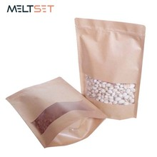 10pcs/lot Small Stand Up Ziplock Bag Jewelry Storage Bags Reclosable Kraft Paper Tea Bag Kitchen Food Packing Bag