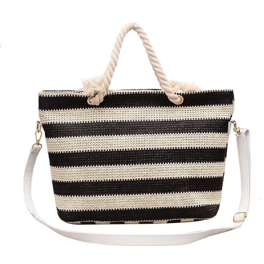 Fashion Women Stripe Bags Simple Weave Tote Handbags Leisure Patchwork Beach Shoulder Bag  for woman 2018 sac a main TC