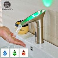 Luxury Water Saving Led Light Basin Faucet Light Led Automatic Bathroom Basin Mixer Taps Waterfall Sensor Faucet