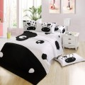 Ywxuege Black&White Bedsheet 4PCS 100%Cotton Dog Pattern Bedding Set Queen Size Quilt/Duvet Cover Bedcover Sets Fast Shipping