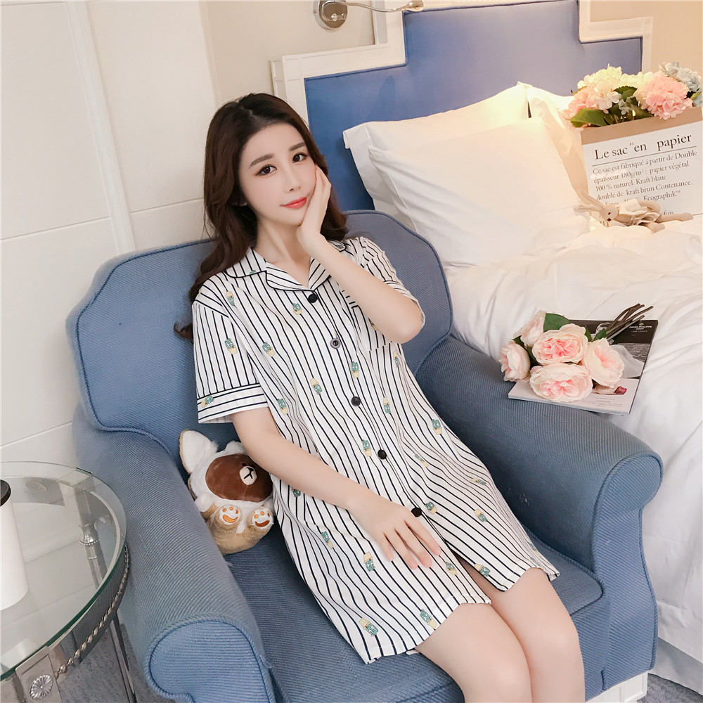 Women   nightgowns     sleepshirts   Summer Stripe nightdress Print Sexy   nightgowns   women   sleepshirts   cotton simple Women Sleepwear
