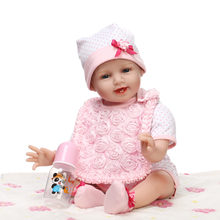 Soft Body Silicone Reborn Baby Doll Toys Lifelike For Child Brithday Gift Play House Cute Newborn Girl Babies With Nipple Bottle(China)