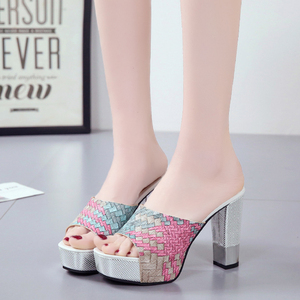 Image 4 - Lucyever 2019 New Women Summer Slippers Fashion Sexy Super Square High Heels Peep Toe Party Shoes Woman Platform Sandals