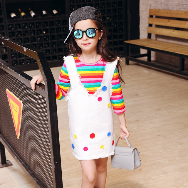 New Girls V Neck Strap Dress Hot Long Denim Jeans Two Pieces Suits Shirt-dress Kids Clothing Sets White Stripe Button