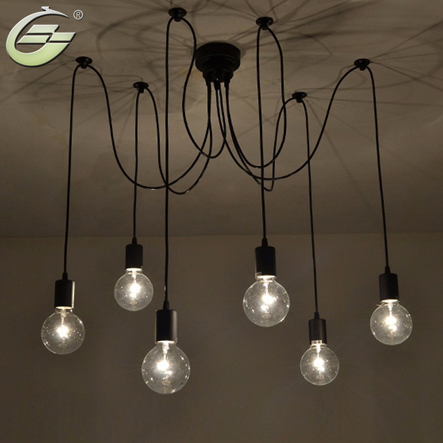6 lights adjustable diy american country industrial warehouse vintage spider ceiling lamps lamp for home decoration