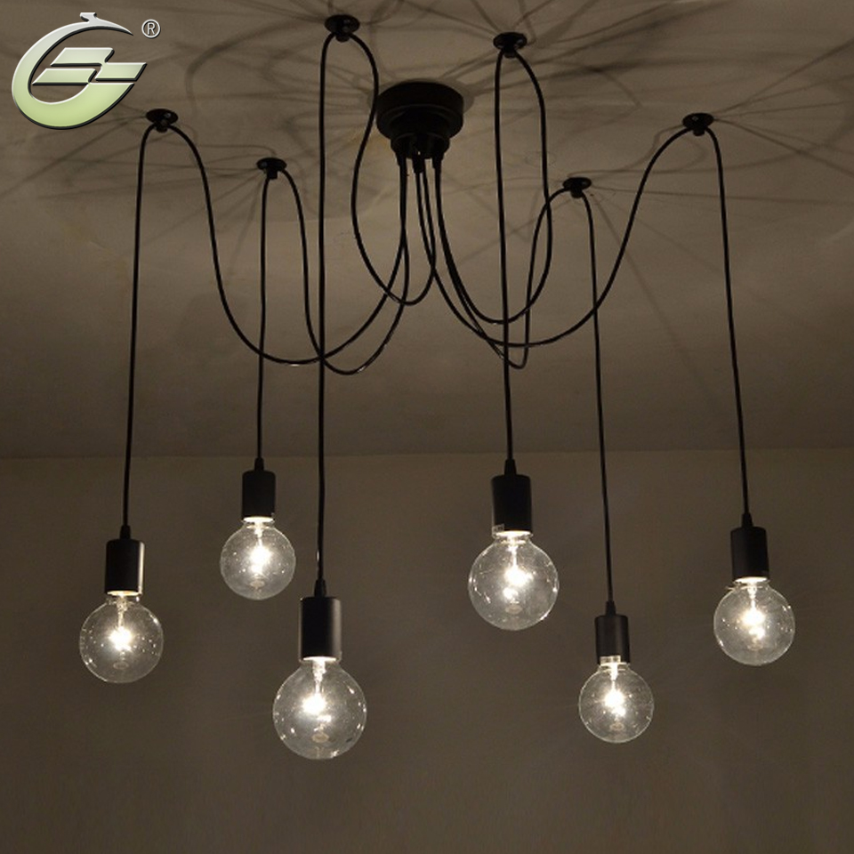 6 lights adjustable diy american country industrial for Homemade ceiling lamp