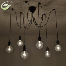 6 luces ajustables DIY país americano Industrial almacén Vintage araña lámparas de techo lámpara para la decoración del hogar sala de estar