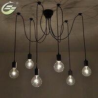 6 Lights Adjustable DIY RH Designer Loft American Country Industrial Warehouse Edison Vintage Spider Ceiling Lamps