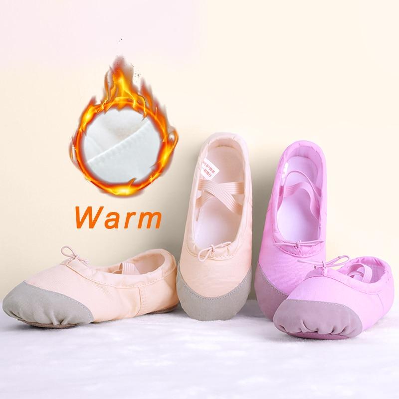 Children Kids Warm Canvas Dance Shoes Girls Women Gymnastics Fitness Slippers Autumn Winter Ballet