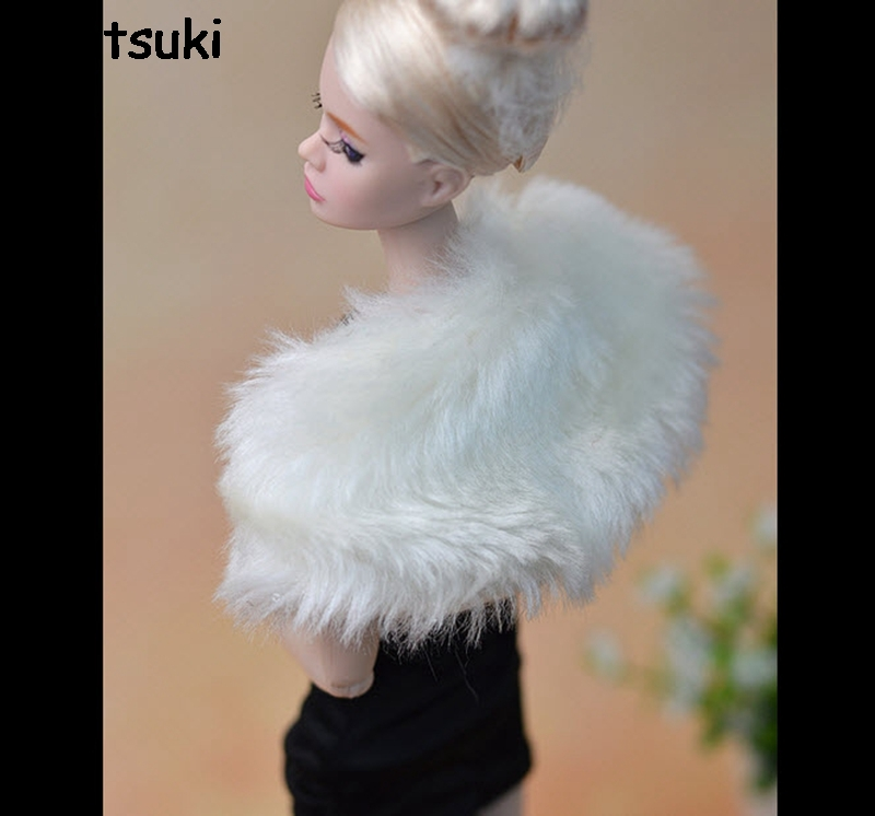 Fashion White Long Plush Shawl Pashmina Doll Accessories For Barbie Dolls For Monster High Dolls Girl's Playhouse Gift