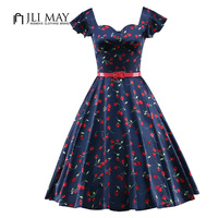 JLI MAY Women Vintage Dress Cherry Print Butterfly Sleeve V Neck Belted Womens Clothing Plus Size