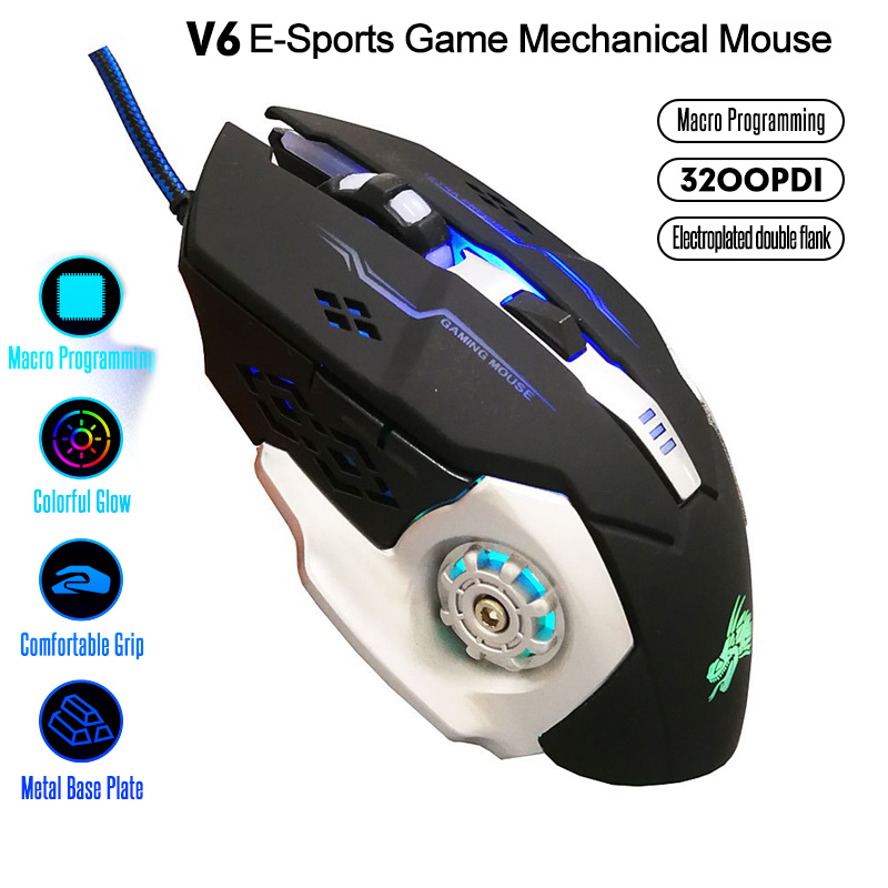 Professional Gamer Gaming Mouse 6D 3200DPI Adjustable Wired Optical LED 6 Keys Mouse USB Cable Gaming Mouse For PC Laptop GT