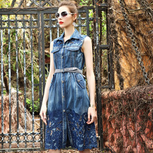 women jeans dresses 2017 summer High quality elegant cutout turn-down collar sleeveless blue denim dress plus size vestidos