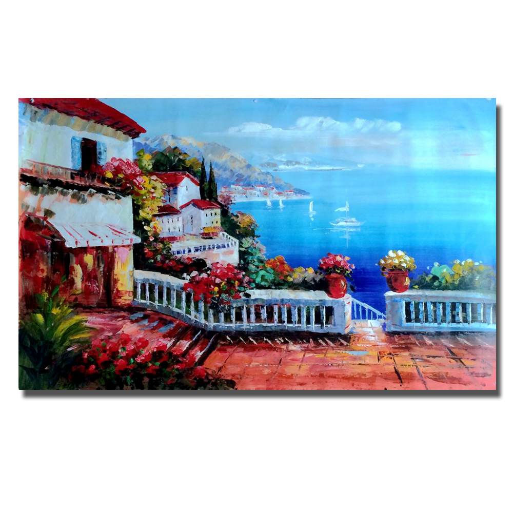 HOT Modern Handmade Oil Painting Pictures On The Wall Art Decoration Abstract Seaside Garden Oil Painting On Canvas No Frame
