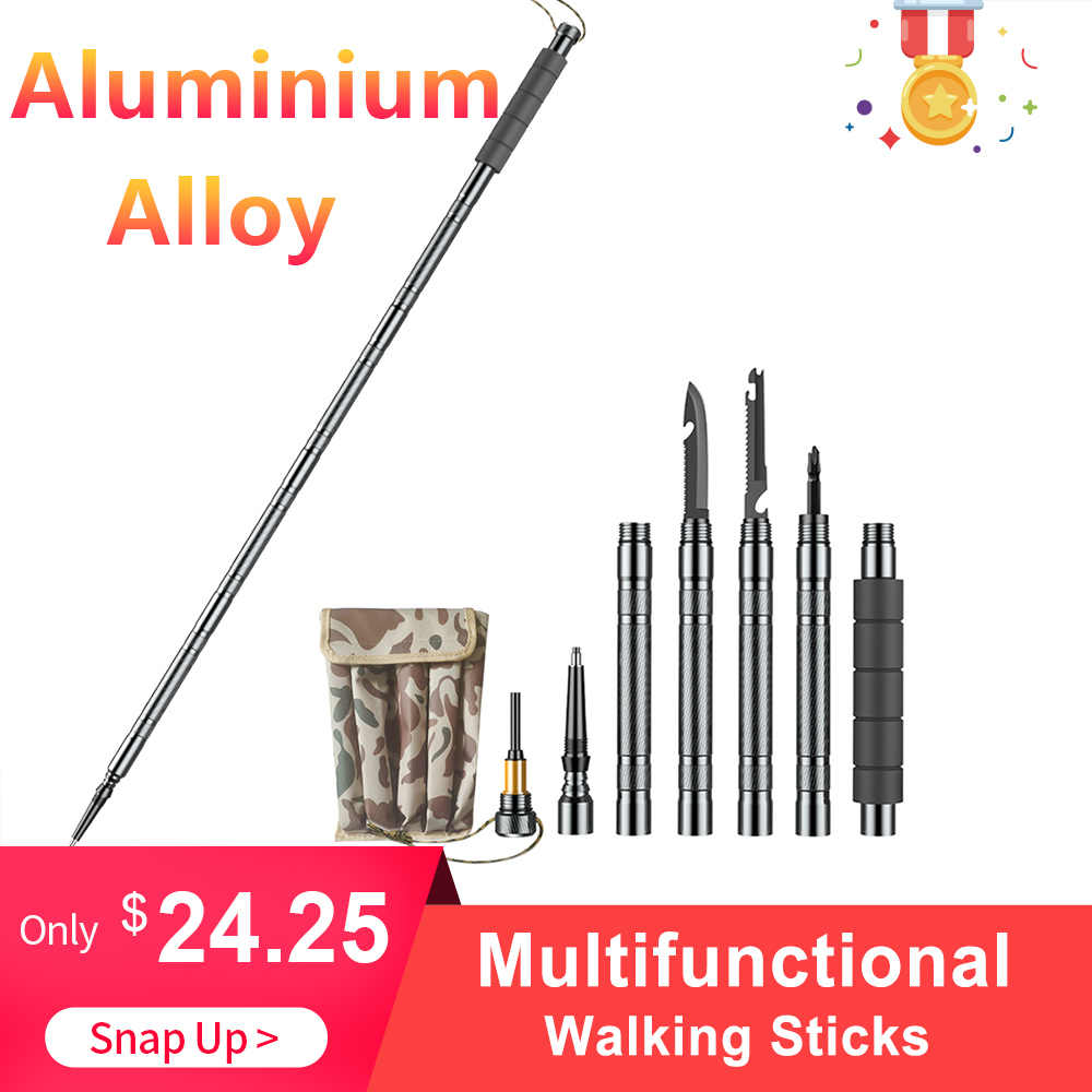 Multifunctional Aluminium Alloy Walking Sticks Alpenstock Outdoor Defense Tactical Stick for outdoor Camping hiking climbing