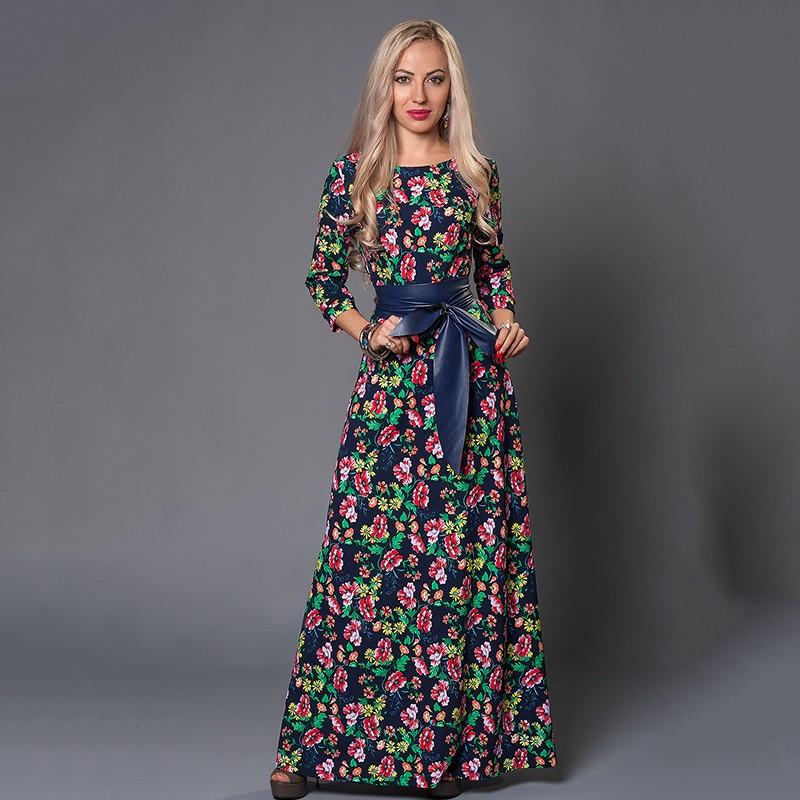 Autumn-summer-women-flower-printing-dress-o-neck-three-quarter-sleeve-long-maxi-dress-vintage-causal