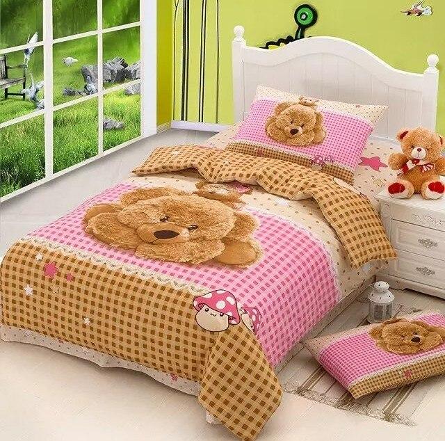Teddy Bear Bedding Set Duvet Cover Bed In A Bag Sheet Cartoon Cute