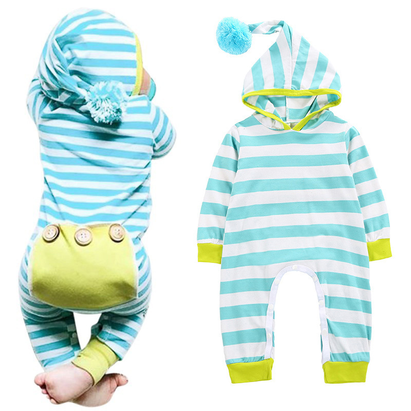 2018 Spring Newborn Hoodie Cute Clothes Baby Girls Striped Rompers Toddler Boys Jumpsuit Cotton Outfits Infant Clothing Costume cotton cute red lips print newborn infant baby boys clothing spring long sleeve romper jumpsuit baby rompers clothes outfits set