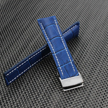24mm Mens Watch band Blue Genuine Leather Watch Strap Butterfly Deployment Clasp