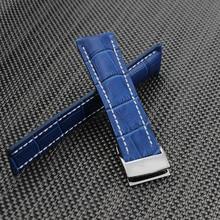 24 мм Мужские Часы группа Синий Кожаный Ремешок Бабочка Развертывания Застежка