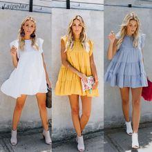 2018 New Fashion Summer women dresses Sexy&Club Short sleeve o-neck Loose dress Yellow white blue mini Laipelar