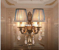 Free Shipping European Bronze Crystal Wall Light Copper Wall Sconces Lamp Bronze Wall Brackets Light for Bedroom Living Room