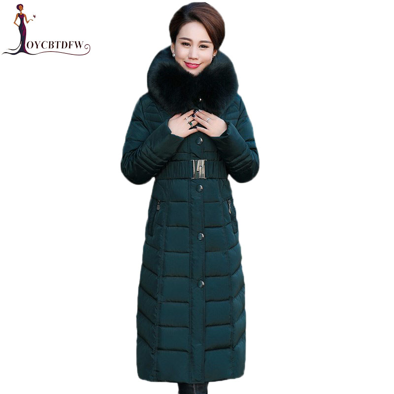 Winter Jacket New middle-aged Long section Cotton Outerwear Thickening Hooded Fur collar Cotton Parkas Large size L-5XL DD280