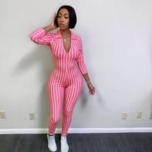 Striped Jumpsuit Pink Black Romper Women Combinaison Femme Summer Sexy overalls Roupas Feminina salopette femme party jumpsuits