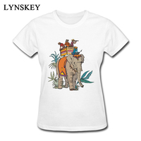 LYNSKEY exotic style tops tees female unique elephant print t-shirt women fit top quality 100 cotton red/white tees short sleeve