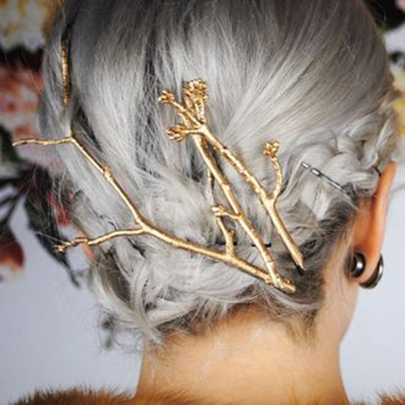 1 Piece New Fashion Flower Branch Gold Color Hair Clip Girls Lovely Hair Accessary Gift