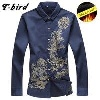T Bird Men Shirt Brand Long Sleeves Mens Dragon Tattoo Camisa Masculina Dresses Shirt Casual Male