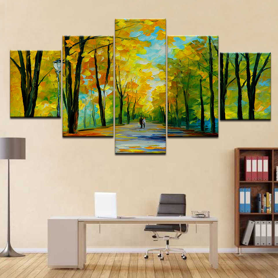 HD printed 5 piece canvas art colorful forest tree poster paintings living room decor wall canvas art sets free shipping artwork