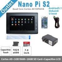 S5P4418 Cortex A9 NanoPi S2(1G RAM,8GB eMMC,1.4GHz)+X710 LCD+8GB SD Card,etc=NanoPi S2 KIT E F(Runs u boot,Android5.1,Debian8)