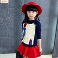 IAiRAY бренд большие девочки кардиган 2017 новая мода девушка вязаный свитер дети открытых груди свитер вскользь топы дети верхняя одежда