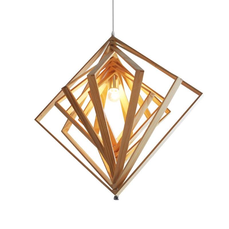 Nordic geometric wood pendant light Restaurant Bar Cafe hanging lighting lamp