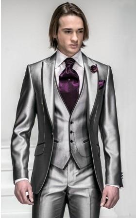Slim Fit Groom Tuxedo Silver Grey Groommen Peak Lapel Wedding / - კაცის ტანსაცმელი - ფოტო 1