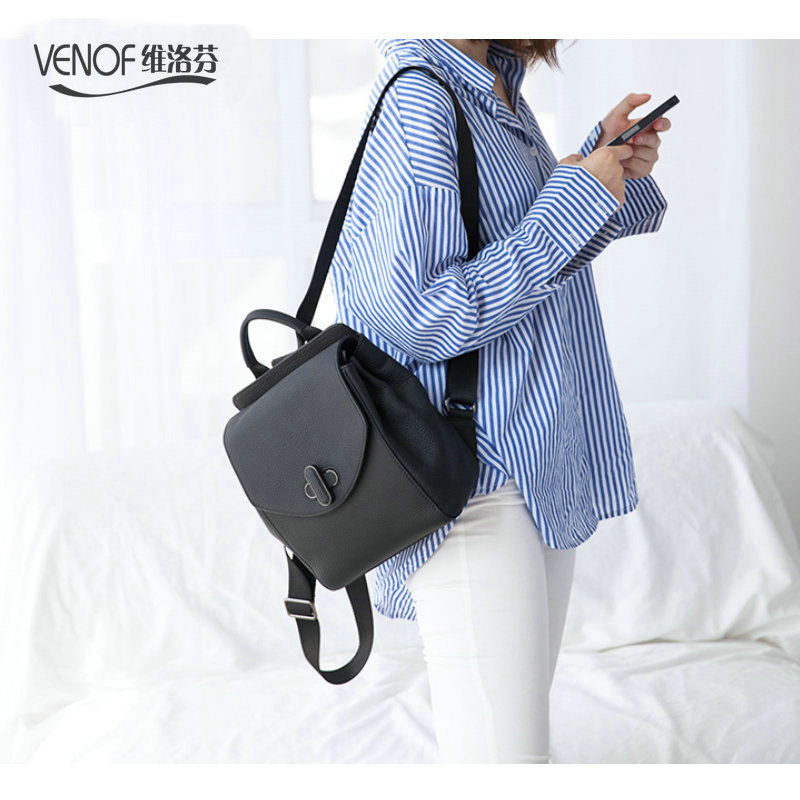 VENOF Fashion mini Genuine Leather Backpack Multifunction kanken backpack women Shoulder Bag Travel Bag girl leather School Bag new korea fashion genuine leather bag women backpack leather school backpack female women travel backpack for girl free shipping