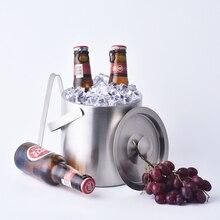 1.3L doppelwand aus edelstahl eiskübel mit griff Praktische Bar Container Fass Bier Weinkühler Champagner Fass keine clip