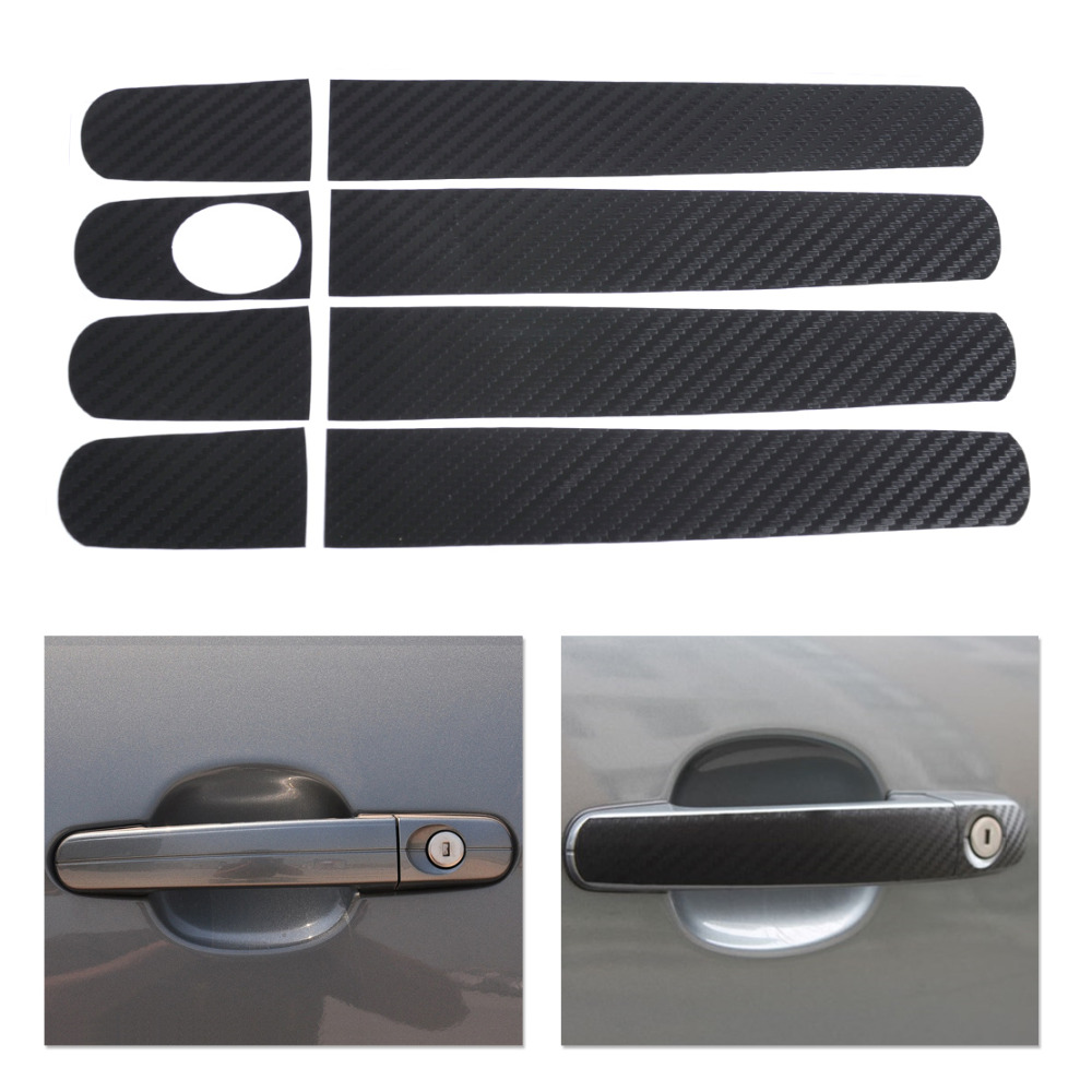 Dwcx new carbon fiber car door handle sticker for ford focus 2012 2013 focus hatchback 2006